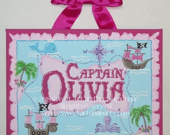 Pirate, Canvas name sign, Personalized. Pink, Aqua Blue, Girl Pirate, Nursery wall art, girls room, Custom wall art, Hand Painted, art