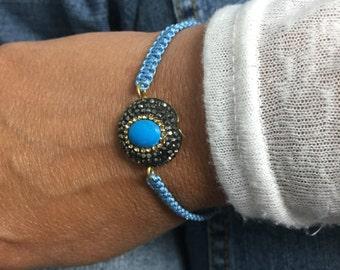 Turquoise Bracelet Gemstone Crystal Bead Bracelet
