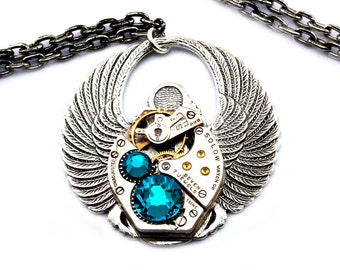 Aqua Blue Zircon Steampunk Scarab Necklace December Birthstone Vintage Swarovski Crystal Steampunk Jewelry Egyptian Style London Particulars