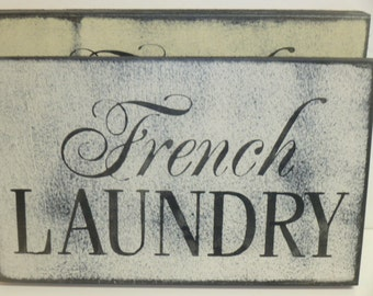 FRENCH LAUNDRY SIGN / French laundry / Laundry sign / wood laundry sign / laundry room sign / hand painted sign / French chic decor /laundry
