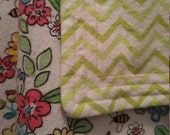 Bees and Flowers cotton flannel baby blanket/swaddle