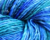 hand-spun hand-dyed yarn / worsted weight / falkland wool / lagoon colorway / 270 yards / blue, teal, aqua