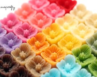 40pc SAMPLER set sakura resin flower cabochons / 20 pairs small flowers for stud earrings / 7mm flat back flowers embellishments /