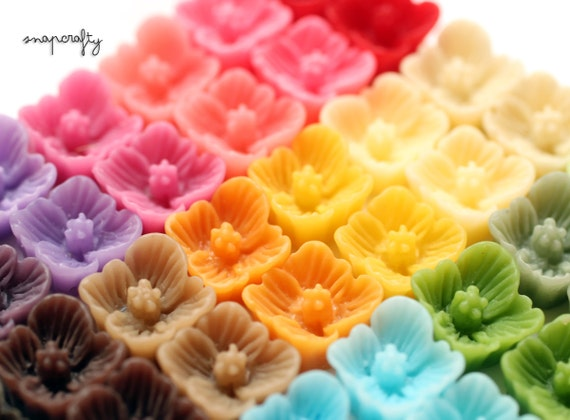 40pc SAMPLER set sakura resin flower cabochons / 20 pairs small flowers for stud earrings / 7mm flat back flowers embellishments /