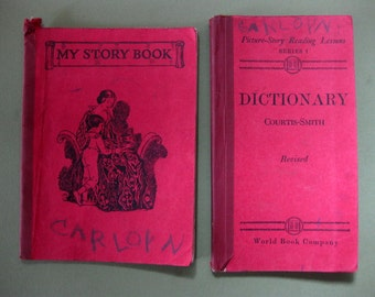 Carolyn's School Books, 1926, Picture Dictionary and My Story Book, Shabby Worn with Illustrations, Index Tabs