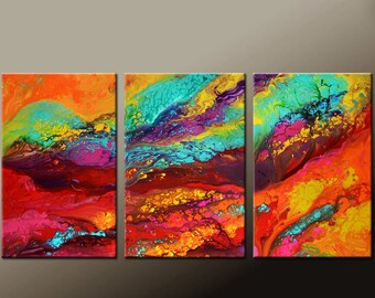 Abstract Canvas Art Painting Huge 3pc 72x36 Original Contemporary Painting by Destiny Womack - dWo -  River of Dreams