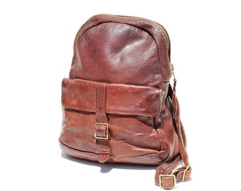 Vintage Brown Leather Shoulder Bag / Front Flap Pocket Leather Bag