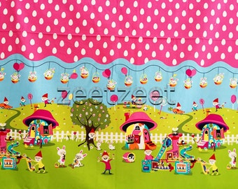 Michael Miller EASTER In GNOMEVILLE Border Pink White Polka Dot Quilt Fabric - Sold by the Yard Gnome Gnomes Spring