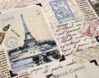 Sale PARIS LANDMARK PATCHWORK Blush Printed Cotton Quilt Fabric by Yard, Half Yard, or Fat Quarter Fq French France Eiffel Tower the Louvre