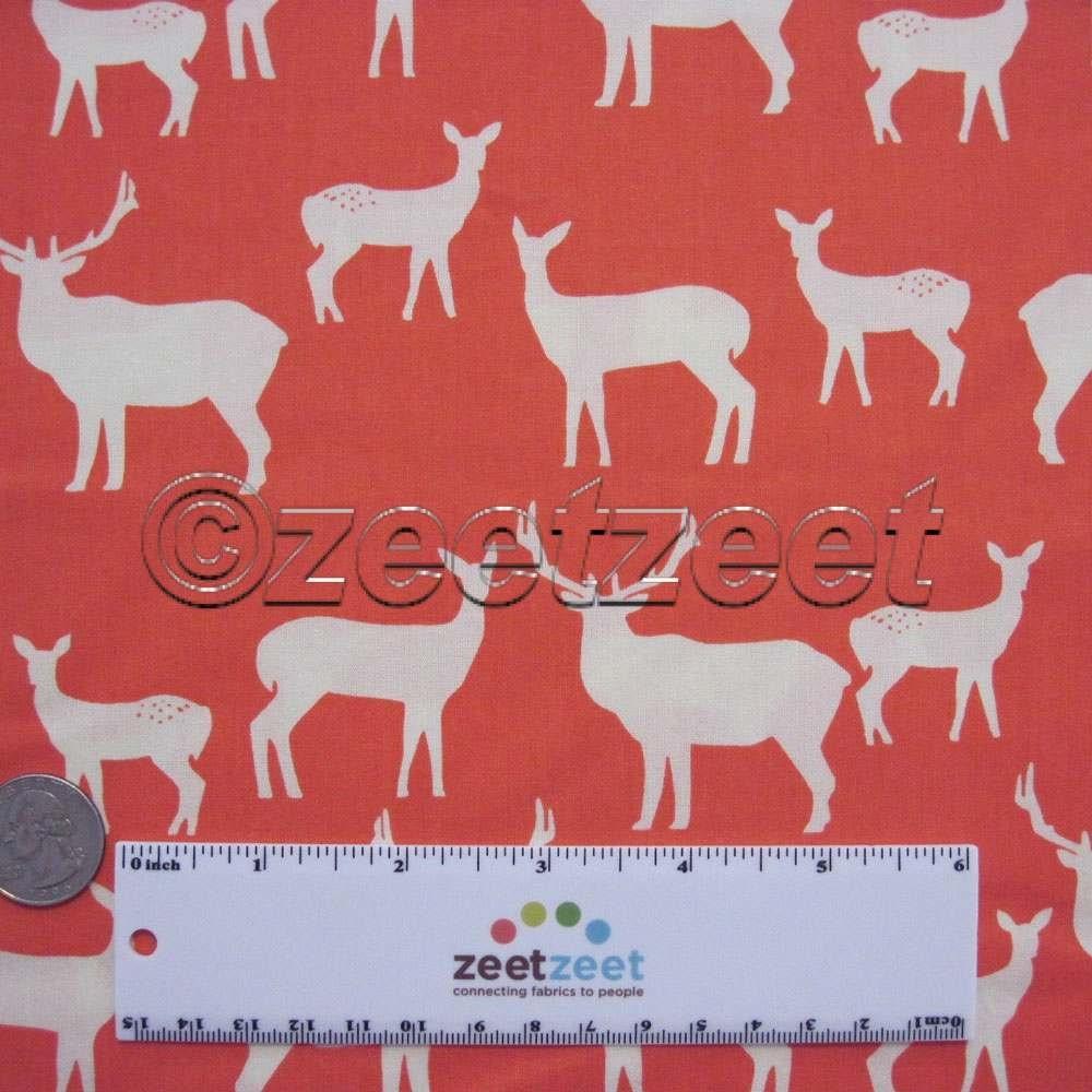 Sale Birch Fabrics ELK FAMILY Coral, Woodland Deer Silhouettes ... : organic cotton quilt fabric - Adamdwight.com