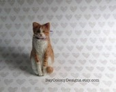 Needle-Felted Wool Cat Animal Soft Sculpture  - READY TO SHIP (32216)