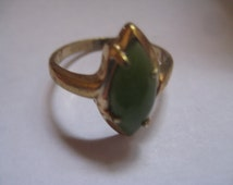 18KT HGE Size 7 1/2 Gold and Genuine Jade Navette Ring