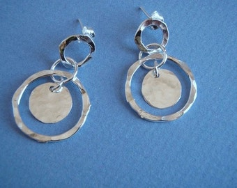Hammered Silver Halo Post Earrings