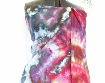 Red Pink Gold and Purple Hand Dyed Pareo Wrap Scarf 30x72 Cotton Voile Ice Dyed Heirloom Tomato Pareo1