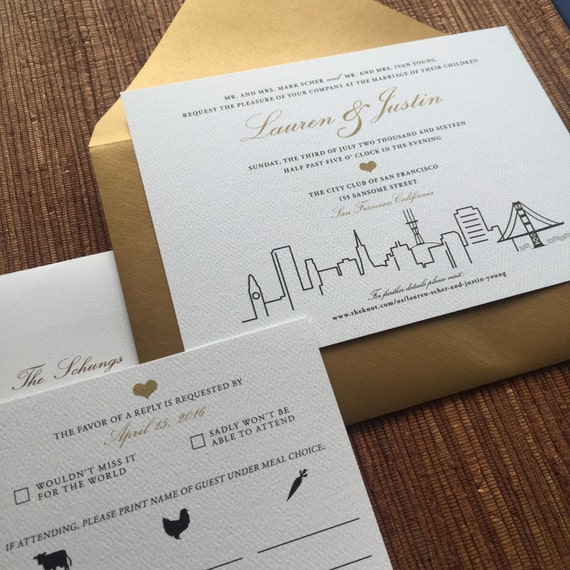 Personalized Skyline Wedding Invitations: San Francisco City Skyline Wedding Invitation / 5x7 Stationery