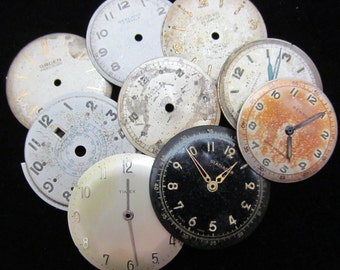 Vintage Antique Watch Dials Steampunk  Faces Parts Assemblage Mixed Media H 41