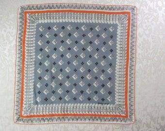 Vintage Linen Tammis Keefe Handkerchief Mid Century Signed Hanky Orange Black Silver Gray