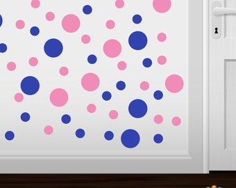 Set of 30 Blue / Pink Vinyl Polka Dot Wall Decals Circles Stickers (Peel & Stick Decal Circle Dots)