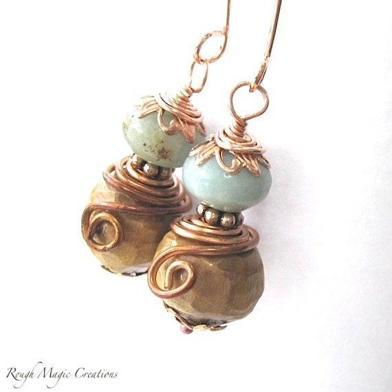 Blue Green Earrings, Peruvian Opal Gemstones, Natural Wood, Hand Carved Wooden Beads, Rustic Copper, Eco Friendly Organic Boho Jewelry  E112