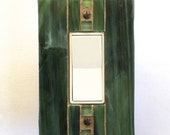 Green Light Switch Cover, Stained Glass Switchplate, Hunter Green Glass, Outlet Cover, Decora Wall Switch, Wall Outlet Plate, Dimmer, 8408