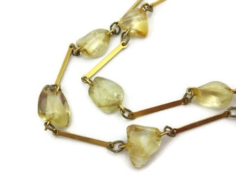 Citrine Necklace - Modernist, Polished Nuggets, November Birthstone Jewelry