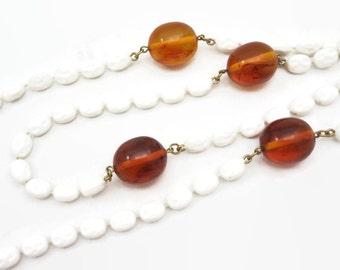 Vintage Bakelite Necklace - Amber Bakelite Jewelry, Mod, Long Necklace, Accessocraft