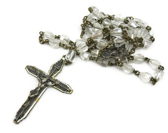 Vintage Glass Rosary - Cone Shaped Beads, Clear Glass