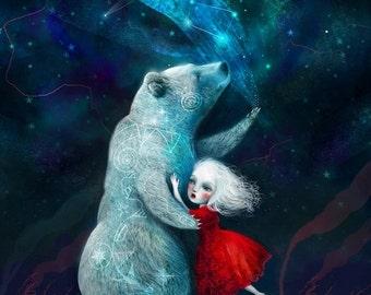 ON SALE Star Bear print 11X14 print -- Bear art zuni hopi bear native american, illustration of girl, bear poster art for children - by Lisa