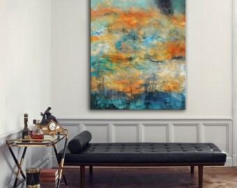 Large modern painting on canvas, abstract art, orange aqua blue painting , lobby art, office painting, living room wall art, textured art