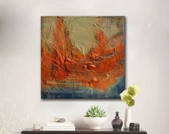 Original Abstract Painting blue red orange art Textural painting ready to hang textured mixed media oil painting, original gift