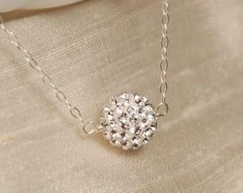 Rhinestone Necklace, Swarovski Pave Ball in Sterling Silver, Bridal Necklace, Bridesmaid Necklace, Rhinestone Pave Ball Necklace, Delicate