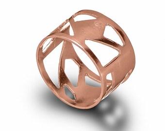 Rose Gold Asymmetrical Ring , Geometric 14 Karat Rose Gold Ring , Triangles Ring , Geometric Jewelry , Minimalist Ring