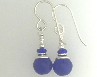 Cobalt Blue Glass And Silver Earrings #5