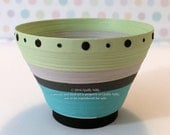 Paper Quilled Striped Bowl, Celery, Grey, Teal and Black, READY TO SHIP