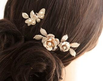 Bridal Hair Comb Set Rose Gold Wedding Comb Butterfly Rose and Leaf Comb Decorative Comb,INGRID