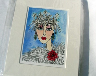 "Watercolor/Pen & Ink Giclee Print ""Winter"" Matted Archival Whimsical Impressionistic Style Woman's Face and Winter Flowers on Etsy"