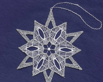 Germany Woven Cotton Thread Christmas Snowflake Ornament For Crafting Silver & White  LHS024