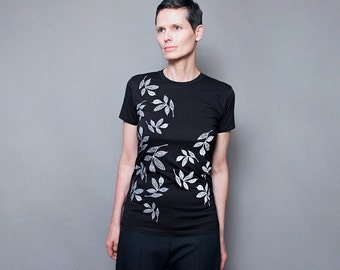 Abstract Leaf Screenprint on Black Fashion T Shirt  for Women, Gift for Her, Flower Floral Design