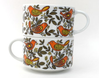 Set of Birdy and Leaf Soup Bowls or Cups for Soup Sipping