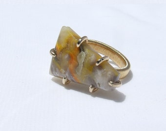 Bumble Bee Jasper Ring, natural yellow stone, hand cut, freeform shape, Modern jewelry, prong set, ring size 6.5