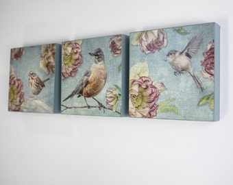 Spring Birds and Blooms, Three Panel Set of Ready to Hang Wooden Plaques -  Fine Art Image Collection on  5-inch Square, Birch Panel