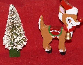 Rudolph  Wood Hand painted Christmas  Tree Ornament and Bristle Brush Tree - Vintage