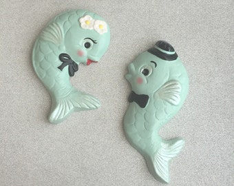 Retro Mr. & Mrs. Fish Wall Hangings in Mint ~ Ready to Ship!