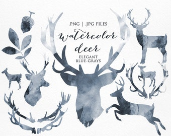 Watercolor clipart - watercolor deer clip art sihouettes gray blue antlers whimsical forest leaves acorns digital commercial use hand drawn