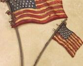 Set of 2 Paper mache American Flag on Stick