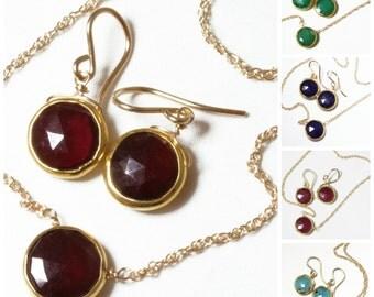 Genuine Garnet 2-piece SET Garnet Necklace Garnet Earrings Garnet Jewelry January Birthstone Garnet Jewelry BZ-SET-105-Garnet/g