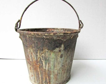 Vintage Grunge Finish Bucket, Small Steel Industrial Swing Handle Pail with Old Grunge Paint Stained Finish, Primitive Planter, Garden Pail