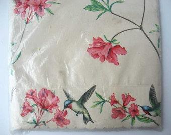 Vintage 1960 Unused Package Royledge Shelf Lining Paper, Hummingbirds and Flowers, Xtra Wide, Vintage Kitchen Paper, Pantry Shelf, Cupboards
