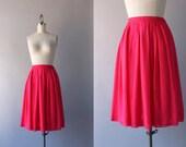 1960s Skirt / Vintage 60s Sheer Chiffon Skirt / Red Pleated Full Skirt