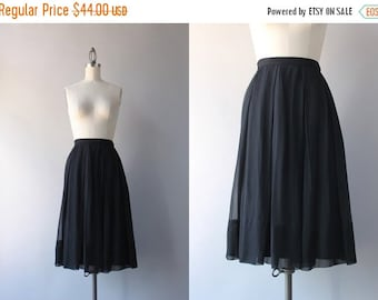 STOREWIDE SALE 1960s Skirt / Vintage 60s Sheer Black Chiffon Skirt / Nelly de Grab Full Floaty Skirt